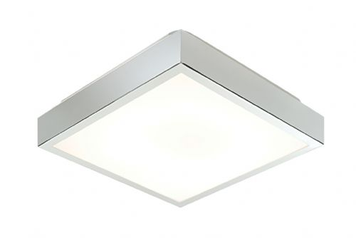 Chrome effect plate & matt white acrylic Flush IP44 Bathroom Light 28679 by Endon